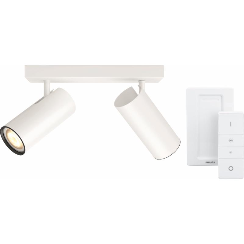 philips hue buratto 2 spot wit met dimmer smart lampen kopen. Black Bedroom Furniture Sets. Home Design Ideas