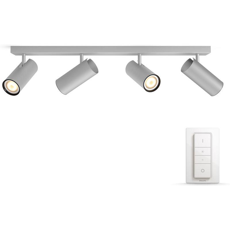 philips hue buratto 4 spot grijs met dimmer smart lampen kopen. Black Bedroom Furniture Sets. Home Design Ideas